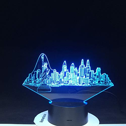 York City Buildings Modelling 3D USB Color Changing Touch Button Desk Table Lamp Led Atmosphere Night Light Gifts