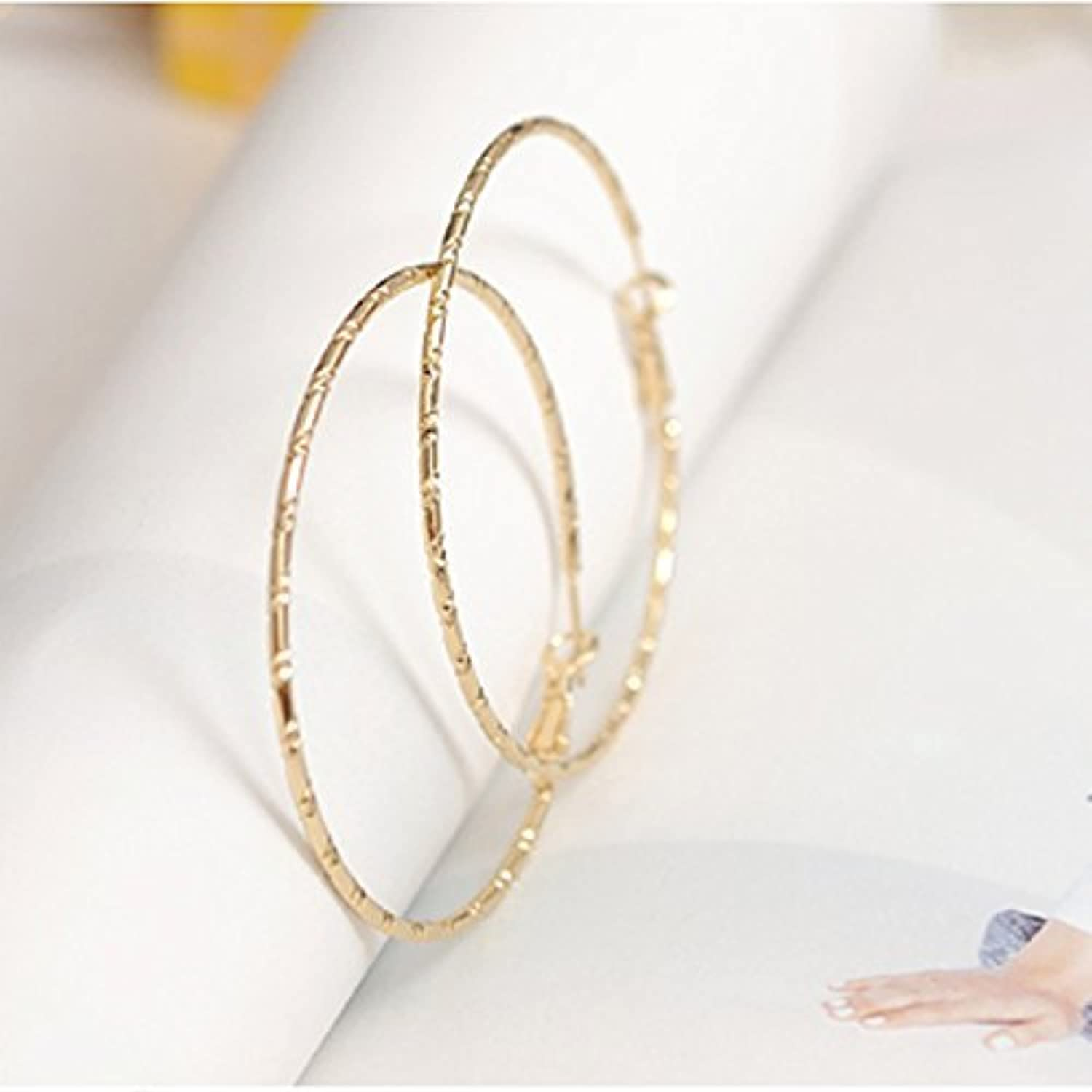 Kathyt Store INC 1 Pairs gold color Fashion Wild Big Circle Earrings Bamboo 2.3 Inch Hoop Earrings (gold)