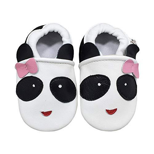 LPATTERN Baby Jungen/Mädchen Sommer Babyschuhe Lauflernschuhe Krabbelschuhe, Panda mit Schleife auf Weiß, 22/23 EU(XL: Innenlänge 14,5CM)