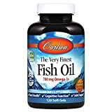 Carlson - The Very Finest Fish Oil, 700 mg Omega-3s, Norwegian Fish Oil Supplement, Wild Caught Omega 3 Fish Oil, Sustainably Sourced Fish Oil Capsules, Omega 3 Supplement, Orange, 120 Softgels