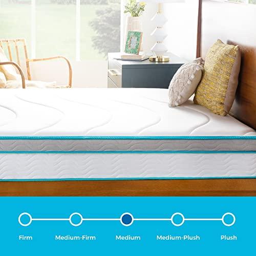 Linenspa 10 Inch Memory Foam and Innerspring Hybrid Medium Feel-Queen Mattress, White