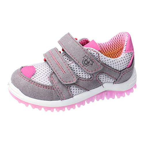 RICOSTA Kinder Low-Top Sneaker Pepe von Pepino, Weite: Mittel (WMS), Halbschuh sportschuh Klettschuh Kinder Kids,Graphit/grau/rosa,27 EU / 9 Child UK