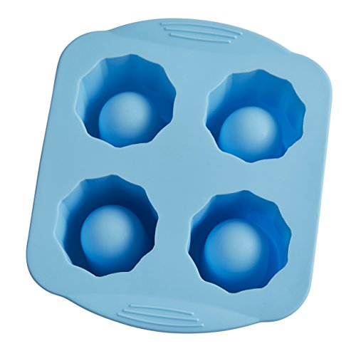 HIC Big Shot Ice Tray, 43821, Non-Stick Silicone, FDA Approved, Freeze 4 Shot Glasses, Blue
