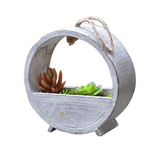 Support à fleurs vintage en bois massif, ornement de suspendre un panier suspendu de jardin de cadre de plante ronde (blanc) (Taille : M)