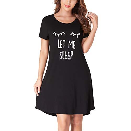 Women's Nightgowns,Soft Summer Nightwear Dress Short Sleeve Sleep Shirts Let Me Sleep Print Pajamas Sleepwear for Women (Black, M)