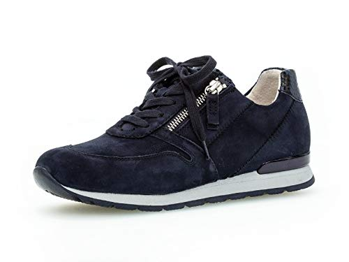 Gabor Damen Sneaker, Frauen Low-Top Sneaker,Comfort-Mehrweite,Optifit- Wechselfußbett, Woman Freizeit leger Halbschuh Lady,Blue (Ring),40 EU / 6.5 UK