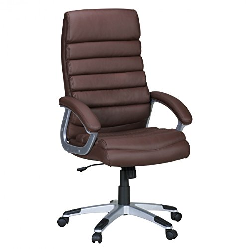 Silla de oficina VALENIA piel sintética marrón ergonómica con reposacabezas. Silla de escritorio con función de balanceo. X-XL - Silla giratoria (respaldo alto, 120 kg, 115 - 125 x 60 x 60 cm)