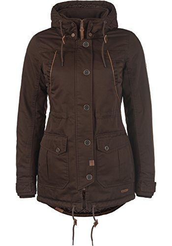 DESIRES Annabelle Damen Übergangsparka Parka Übergangsjacke Lange Jacke mit Kapuze, Größe:M, Farbe:Coffee Bean (5973)