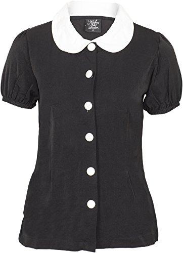 Küstenluder Damen Oberteil Melina Bubikragen Vintage Bluse Schwarz L