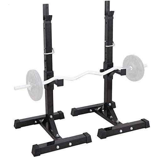 Pair of Adjustable Squat Rack Standard 31.5-59 Inch Solid Steel Squat Stands Barbell Free-Press Bench Home Gym Portable Dumbbell Racks Stands,H Shaped Bases,Fastening Nut,Anti-Skid,Fitness (Black)