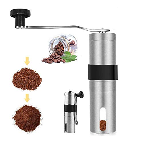 YFGQBCP Coffee Grinder Manual portátil Molinillo de café, de cerámica cónico Burr Molino Ajustable Grind manivela de Acero Inoxidable Cepillado del Grano de café Amoladora for el hogar o de Viaje