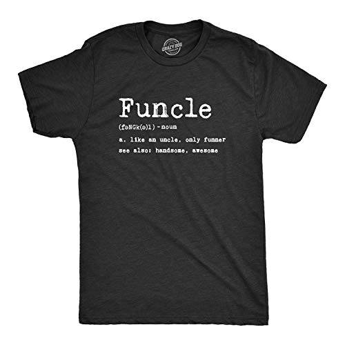 Mens Funcle Definition T Shirt Funny Graphic Uncle Family Tee Novelty Print (Heather Black) - XL