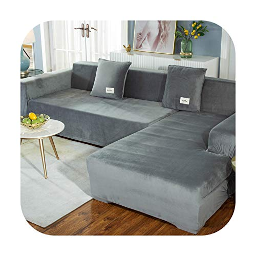 Sofa covers Elasticated Plush for Living Room Velvet Corner Armchair Couch Pleads Cover Sets Angle 3 Seater L Shape Furniture-Light.Gray-1 Seat 90-140Cm