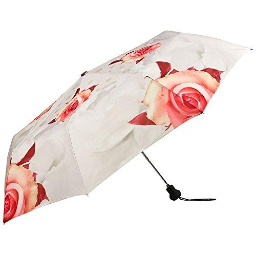 VON LILIENFELD Regenschirm Taschenschirm Stabil Leicht Auf-Automatik Damen Floral Hochzeitsschirm Rosen Creme