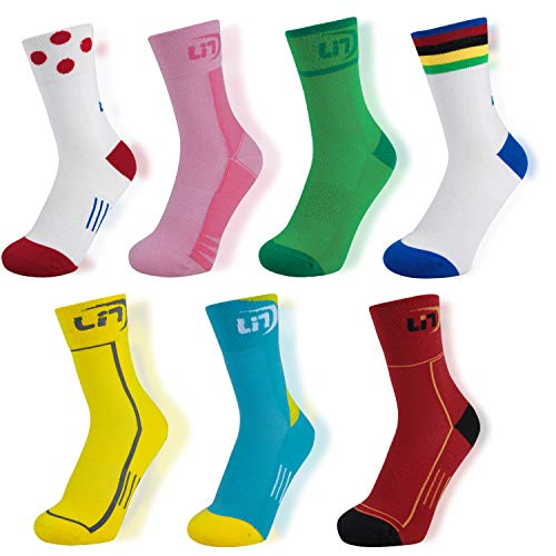 Lin 7 Pack Cycling Socks for Men and Women Funny Color Biking Socks Performance Athletic Crew Socks (M (9-11), Championship Jersey Color)