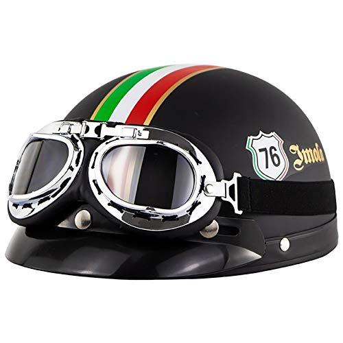 Casco de Moto,Half-Helmet Personality Casco de Motocicleta Abierto Unisex Retro para Adultos,con UV Gafas Protectoras Cuatro Estaciones Hombres y Mujeres Casco,ECE Homologado F