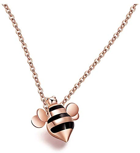 Dreamdge 18K Gold Necklace Little Bee Costume Jewellery Necklace, Pendant Necklace Chain 40cm Jewelry Gift for Women Girls