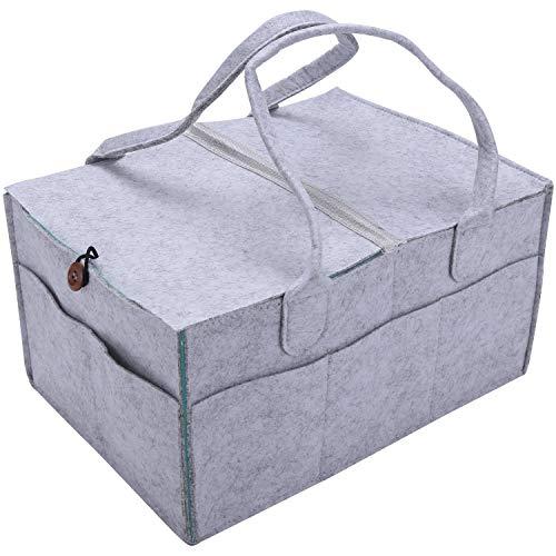 OVBBESS Organizador plegable de fieltro para pañales de bebé, con tapa extraíble, bolsa de almacenamiento, juguetes para niños, bolsa portátil para cambiar de viaje en coche, organizador de mesa