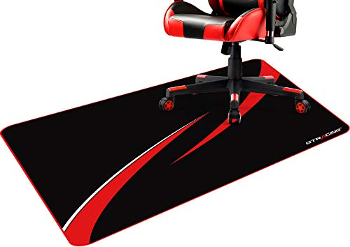 GTRACING Office Chair Mat for Hardwood Floor 43 x 35 inch Gaming Computer Desk Floor Mat Desk Chair Protector for Rolling Chair Red