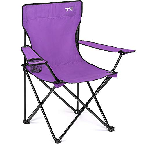 Trail Purple Camping Chair Lightweight Folding Cup Holder Carry Bag 100kg Capacity