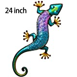 TERESA'S COLLECTIONS 24 inch Gecko Decor Metal Wall Art Lizard Outdoor Decorations for Backyard Porch Patio Lawn Fence Living Room