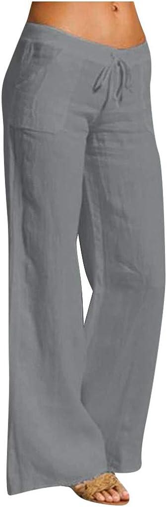 Linen Wide Leg Pants for Women Petite Linen Capri Pants for Women Wide Leg Drawstring Casual Loose Trousers
