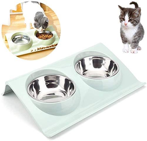 TaimeiMao Comedor Gato,Gato Cuenco,tazones para Gatos antivomitos,Tazón de Comida para Gatos Ajustable,Comederos Perros Gatos,Cuenco para Mascotas Transparente (Azul)