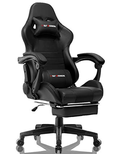 Gaming Chair Racing Computer Game Chair with Footrest Ergonomic Desk Chair Executive Swivel Chair Adjustable Task Office Chair (Black/Navy Blue)