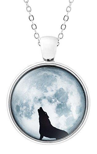 Klimisy - wolf in maanvergunning ketting met hanger van glas - Buy One & Plant One Tree - Hoogwaardige halsketting met wolf-medaillon - Eco & Fair