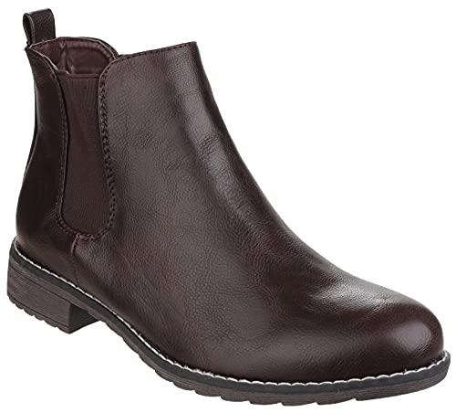 Divaz Womens/Ladies Kelly Pull on Block Heel Derby Ankle Boots