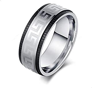 Ring Unisex Silver and Black Size 8