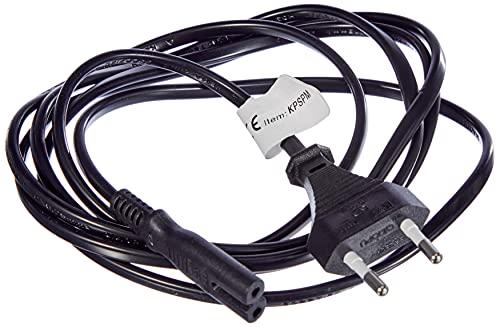 PremiumCord Netzkabel 230V 2m, Stromkabel mit Eurostecker auf Euro Doppelbuchse C7 2 Polig, IEC 320, gerade, Farbe schwarz