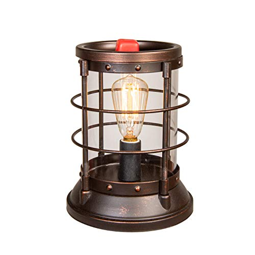 Scentsationals Nautical Edison Lantern Wax Warmer 40w Bulb Air Freshener - Scented Electric Warmer - Fragrance Home Decor Wickless Candle Safe Clean Heat Source - Bronze