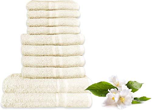 Juego de toallas – 100% algodón   Ultra absorbente   Juego de accesorios de baño   10 piezas   4 toallas de mano   4 paños faciales   2 toallas de baño extra grandes (crema)