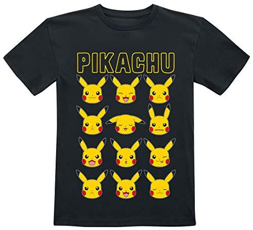 Pokèmon Pikachu - Faces Unisex Camiseta Negro 122/128, 100% algodón,