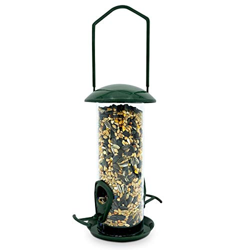 Bird Feeder With Wild Seed Mix Included - Plastic Outdoor Hanging Feeders for Garden Birds Feeding - Attracting Tits, Finches, Robins, Sparrows & many more Wild Birds