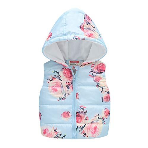 H.Eternal - Chaleco con Capucha y diseño de Flores para bebé, para niños de 0 a 5 años Azul Azul Celeste 12-18 Meses