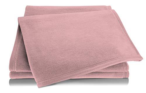 biederlack® Flauschige Kuschel-Decke Pure Cotton I Made in Germany I Öko-Tex Standard 100 I Wohn-Decke aus 100prozent Baumwolle in rosa I Couch-Decke 150x200 cm | nachhaltig produziert