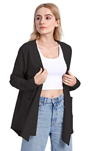 TownCat Cardigans for Women, Long Sleeved Cardigan Drape Lightweight Cardigan with Pockets (Black, L)