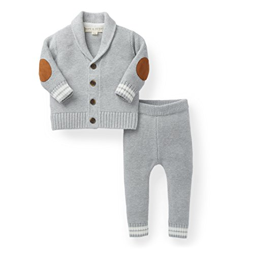 Hope & Henry Layette Boy Grey Cardigan and Sweater Leggings Set