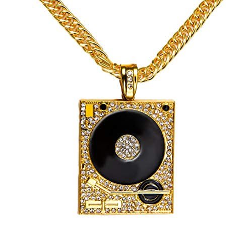 Xusamss Hip Hop DJ 18K Gold Plated Crystal Phonograph Tag Pendant Necklace with Chain