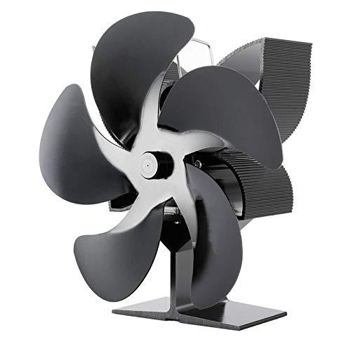 XUMI Ventilador de Estufa, Estufa de leña de 5 aspas Ventilador de Chimenea Motores silenciosos Circula de Calor, Ventilador casero Seguro de la Chimenea de la hornilla de Madera del Registro