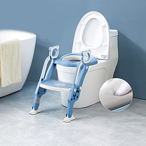 CQILONG Child Toilet Toilet, Staircase Adjustable Fold WC Assist Toilet Seat, PP Plastic Easy To Clean (Color : Blue, Size : 30X42X23.5cm)