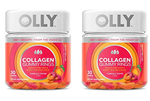 Olly Collagen Gummy Rings! 30 Gummies Peach Peach Bellini Flavor! Formulated with Bioactive Collagen Peptides! Reduce Fine Lines and Boost Skin Resilience! Choose Your Pack! (2 Pack)