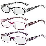 siqiwl Gafas de Lectura, 3 unids Fashion Anti-Blue Light Light Gafas, Cómoda Protección for los Ojos, Lentes Presbiliares for Unisex, Flores Elegantes Eyewear 0 ~ + 3.0 (Color : +2.5, Size : 3Mix)