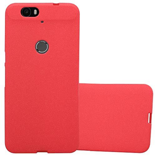 Cadorabo Hülle für Huawei Nexus 6P - Hülle in Frost ROT – Handyhülle aus TPU Silikon im matten Frosted Design - Silikonhülle Schutzhülle Ultra Slim Soft Back Cover Case Bumper
