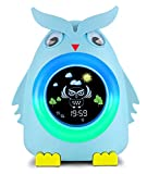 Fyonm Sveglia Bambini, Lcd Digital Sveglia Senza fili, Wake up Light Luminosa Sveglia, Allenatore per Dormire per Bambini, Sveglia a Forma di Gufo da 2000 mAh, Ricarica Usb, Regali per Bambini