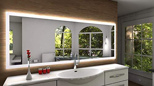 Badspiegel Designo SETE mit A++ LED Beleuchtung - (B) 130 cm x (H) 60 cm - Made in Germany - Technik 2020 Badezimmerspiegel Wandspiegel Lichtspiegel TIEFPREIS rundherum beleuchtet Bad Licht Spiegel
