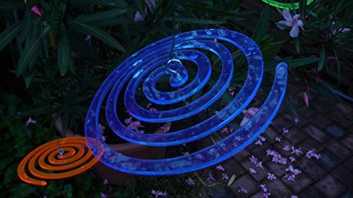 Tremex 3 x Sonnenfänger Spirale lumineszierendes Plexiglas blau mit Befestigung zum aufhängen Durchmesser ca.15cm