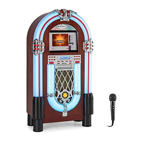 AUNA Graceland Touch - Jukebox + Microfono per Karaoke, Bluetooth, Lettore CD, Pannello Touch da 12 , Interfaccia Wi-Fi, Effetti Luce LED, USB, SD, Ingresso Microfono, Radio FM